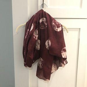 Moon print burgundy scarf